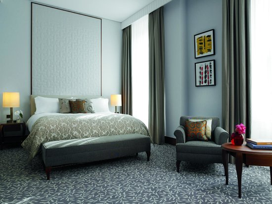Our Deluxe Room at The Ritz-Carlton, Vienna impresses with sophisticated furnishings.