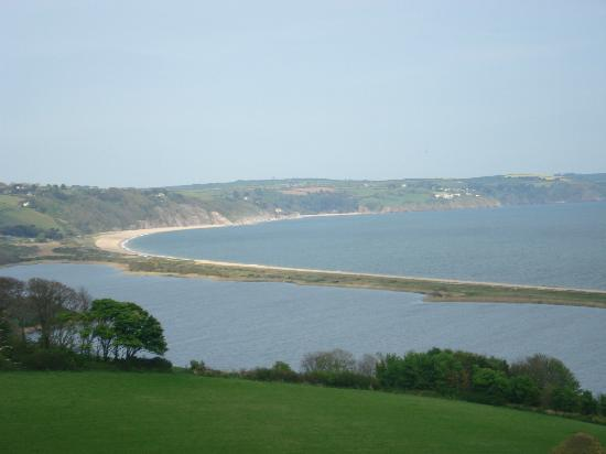 Looking down over Slapton Ley to Slapton Sands