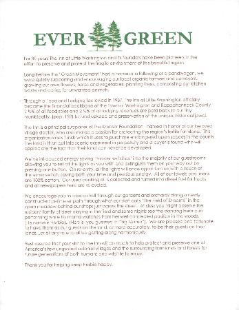 Inn at Little Washington: Information about The Green Movement at the Inn