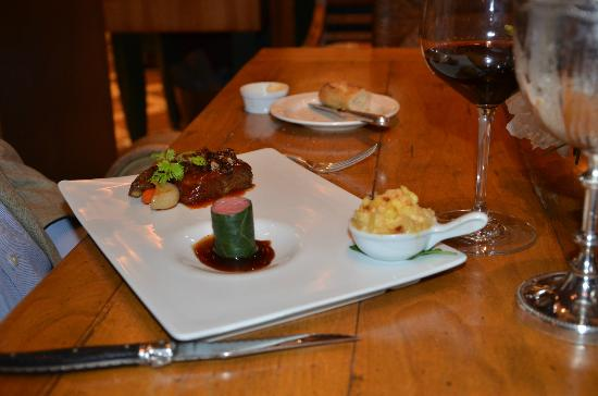Inn at Little Washington: Pecan Crusted Barbecued Short Rib alongside a Miniature Filet Mignon Enrobed in Swiss Chard