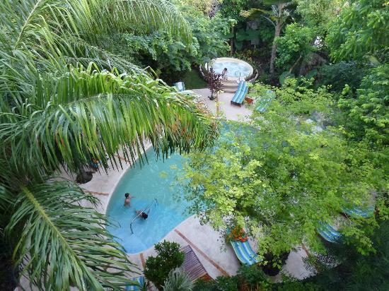 Riviera Maya Suites: view from balcony on the pool