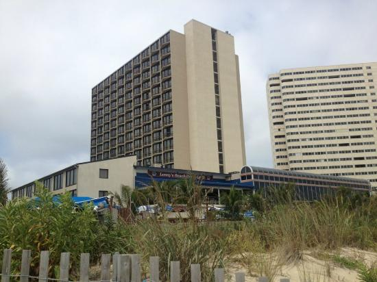 Clarion Resort Fontainebleau Hotel - Oceanfront: hotel see windows are on side view from beach of hotel