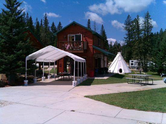 Creekside Campground: See the Tee Pee? Cement foundation with lights and electric!