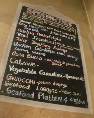 Fabio's Ristorante: il menù