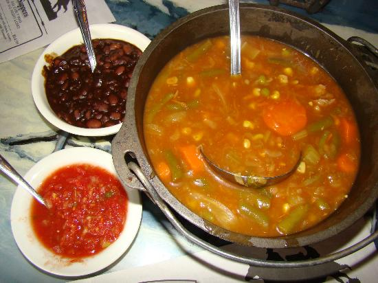 A. J. Spurs: Beef vegetable soup, with a side of beans and salsa