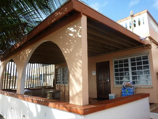 Detail of the covered terrace at the Luquillo Sunrise Beach Inn