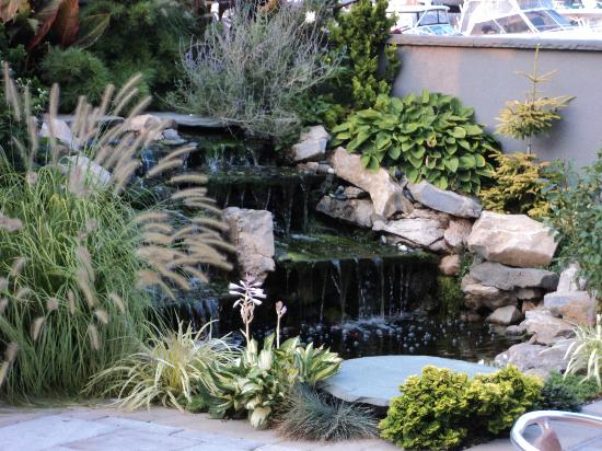 The Freeport Inn And Marina: The Patio Bar And Grill Fountain