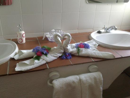 Casa Jazmin: Detalle toallas con flores naturales