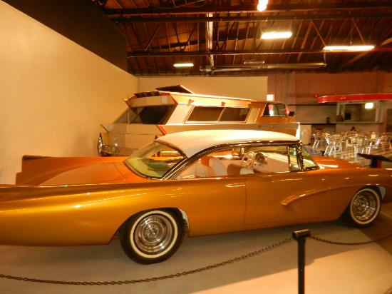 California Automobile Museum: Fin car and, behind it, early custom RV