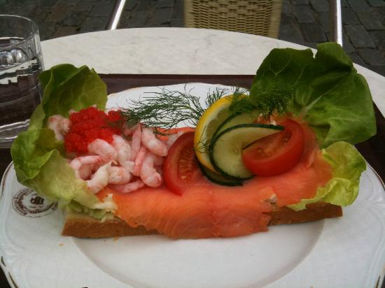 Sundbergs Konditori: shrimp, smoked salmon, masago, on bread with mayo, hard-boiled eggs. with dill, cucumber, lemon