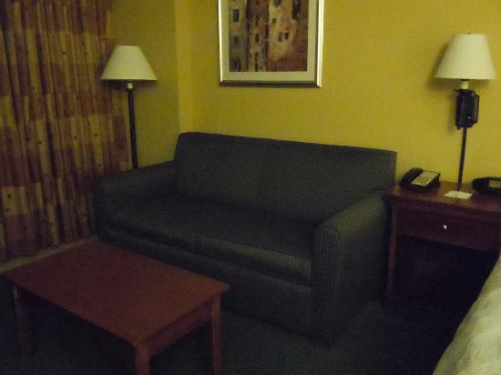 Hampton Inn Virginia Beach-Oceanfront South: Couch and end table near the sliding glass doors