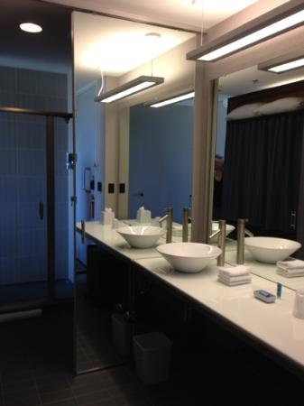 aloft Minneapolis: bathroom - standard room. The mirror to left of sink is a pocket door.