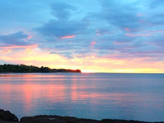 sunrise on Lake Superior just outside Grand Superior Lodge