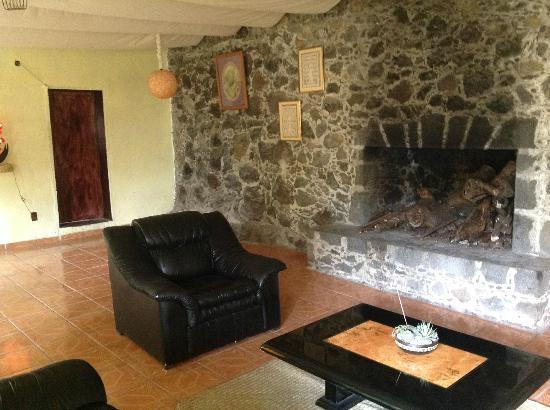 Hotel Teocalli: Chimenea y agradable zona de lectura
