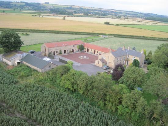 Rains Farm Holidays: Aerial view showing our wonderful location