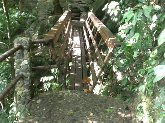 Las Cascadas Lodge: Bridge going to middle waterfall!