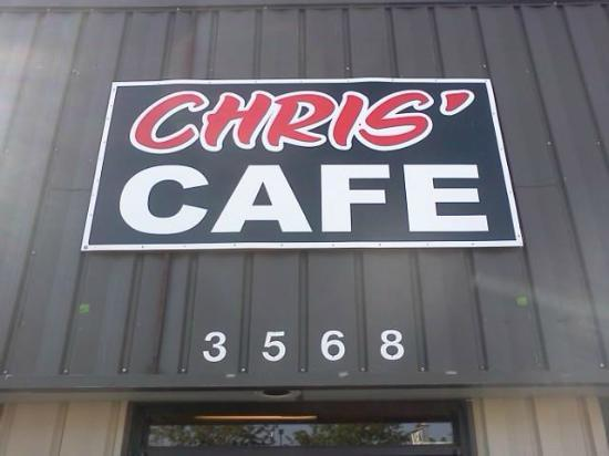 Chris' Cafe: Sign out front