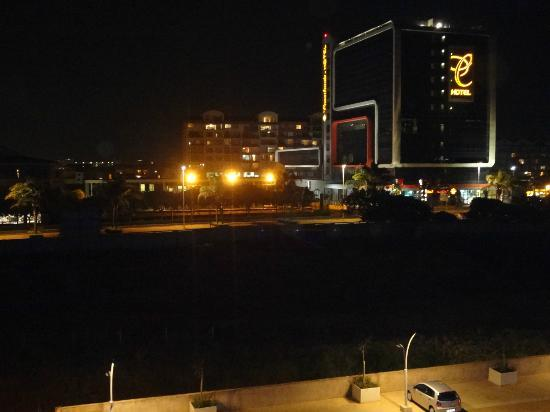 Holiday Inn Express Durban - Umhlanga: View off car park and Coastlands hotel at night so request sea-facing rooms