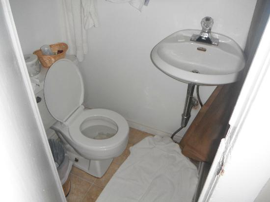Noretta Motel: leaking sink and toilet with towels on floor by management to soak up mess