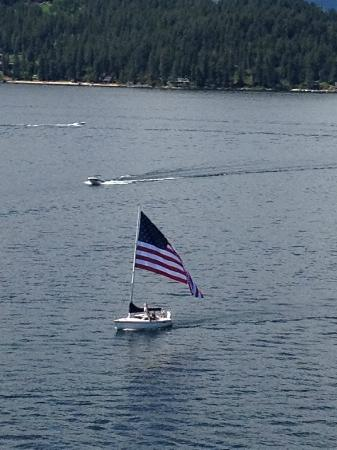 The Coeur d'Alene Resort : Sailboat on the lake.