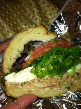 La Sandwicherie: Seafood salad on a croissant with the works & mozzarella.