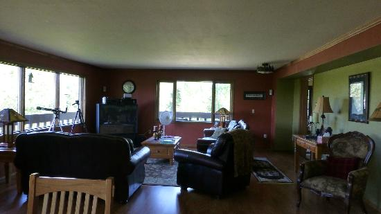 Talkeetna Chalet: 2nd floor common area with big TV