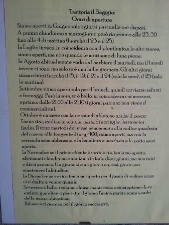 Lizzano in Belvedere, Italy: Orario