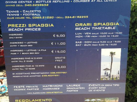 Ristorante Pizzeria Rimbalzello: Prezzi della struttura