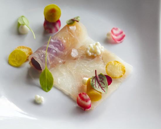a(MUSE.) : Fluke Crudo with beets, potatoes, sorrel