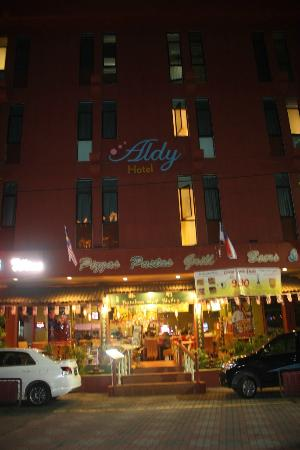 aldy hotel at night