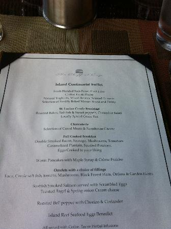Cap Maison: breakfast menu