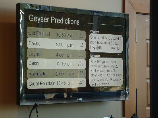 Old Faithful Lodge Cafeteria & Bake Shop: Geyser prediction times outside