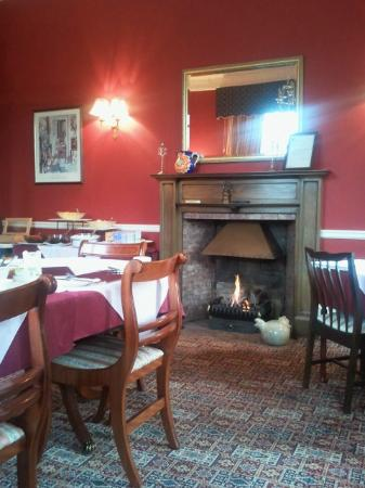 The Lodge Elgin: A real fire in the breakfast room. Lovely.