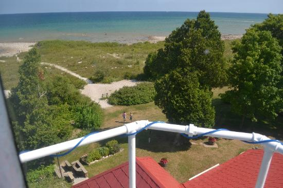 Grand Traverse Lighthouse Museum: View through windows at top of the lighthouse