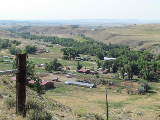 Klondike Ranch: View of the ranch from the end of the mesa