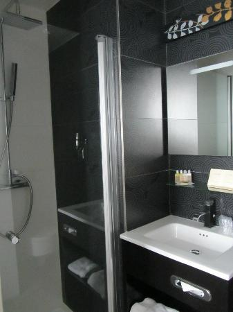 Hotel Caron: Compact bathroom (shower has showerhead and hand-held options)