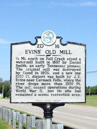 Evins Mill: Historical sign nearby