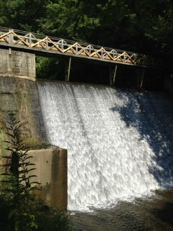 Evins Mill: Water over the dam