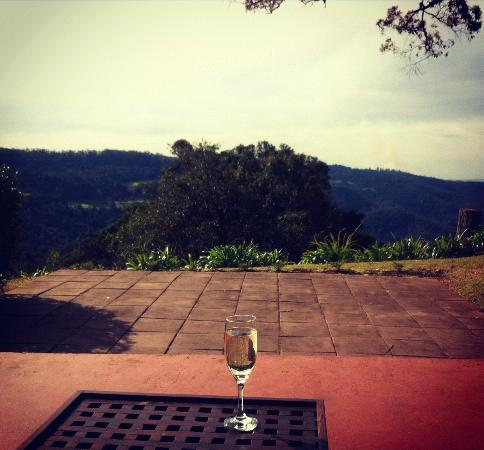 Escarpment Retreat: A welcoming glass of champagne and view