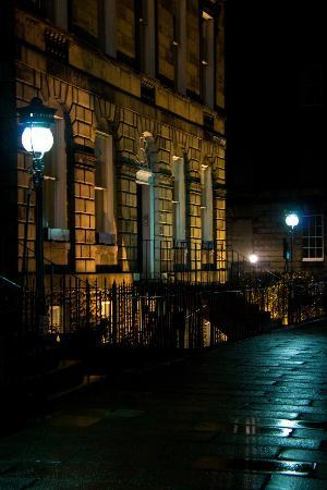 Gerald's Place: The street at night time.