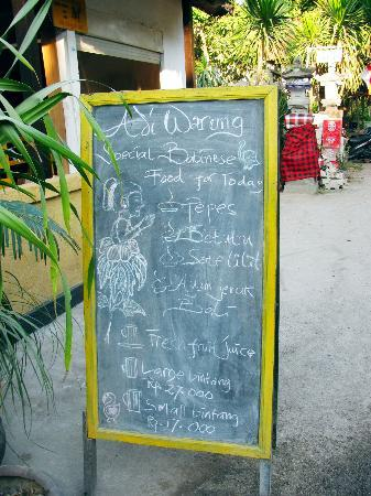 Adi Bungalow: A signboard outside Adi's that states what's on the menu for the day