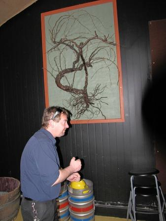 Bluetongue Cafe: Nathan Griffiths in front of a preserved vine