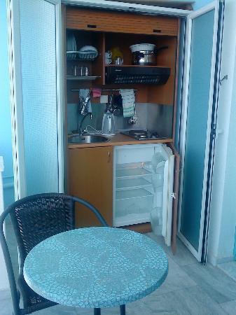 Zorbas Hotel: Kitchenette and fridge
