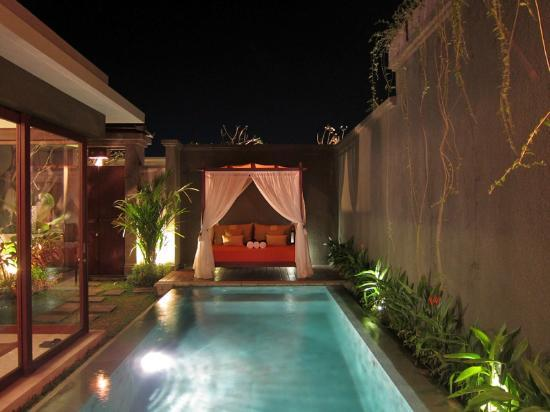 Seminyak Icon: One Bedroom Villa - View from Bedroom at night. Superb!