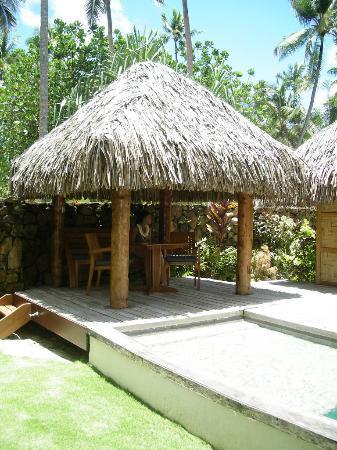 Le Taha'a Island Resort & Spa: Pequeña cabaña frente a la piscina privada
