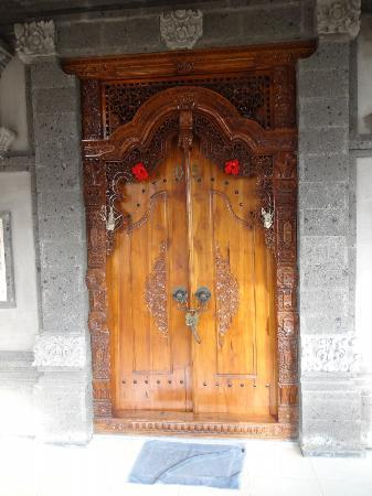Bali Moon: the doors to my room from balcony, heavily carved and absolutely beautiful
