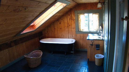 Grist Mill House: Bathtub under the skylight