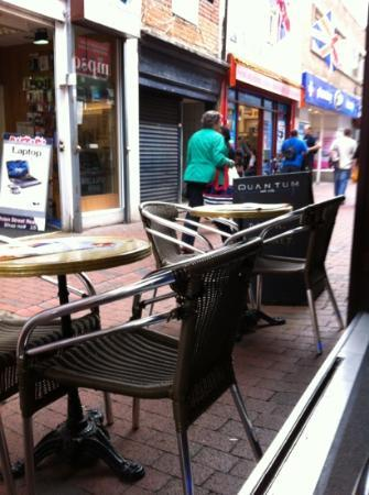 Quantum Web Cafe: pavement seats for the summer