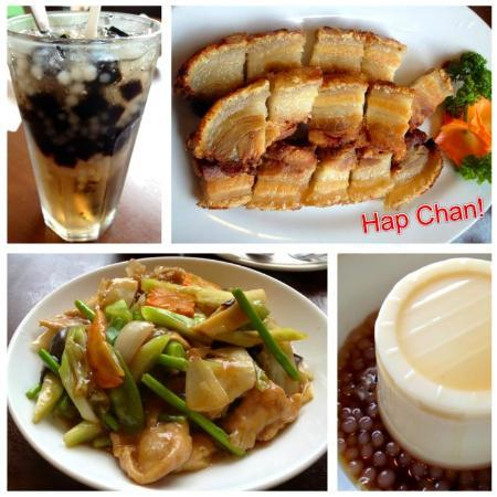 Hap Chan Tea House: from top left: black gulaman drink, lechon macau (my favorite!), chopsuey & chilled taho with sa