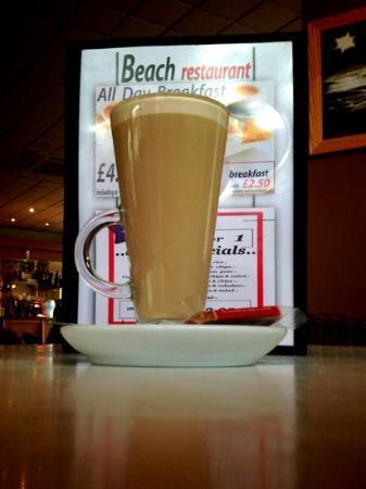 a latte at the Beach Restaurant, Cleethorpes...